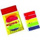 Index autoadeziv plastic, Kores, 12x45mm, 5 culori, 25 file/set