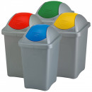 Cos gunoi cu capac batant 60 litri, culori selectiv