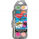Acuarele Maped Color'Peps, 30 mm, 12 culori/set + pensula