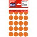 Etichete autoadezive color, D25 mm, 200 buc/set, Tanex - 5 culori asortate