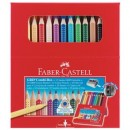 Set Cadou 12 Creioane Colorate Jumbo Grip si 10 Carioci Grip Faber-Castell