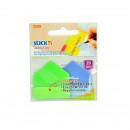 "Stick index plastic 38 x 38 mm, 20/set, index sageata, tab hartie color, Stick""n Arrow Tabs"