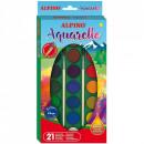 Acuarele 21 culori/cutie + 2 pensule, watercolor Alpino