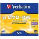DVD+RW VERBATIM 4.7GB 4X MATE SILVER JEWEL CASE