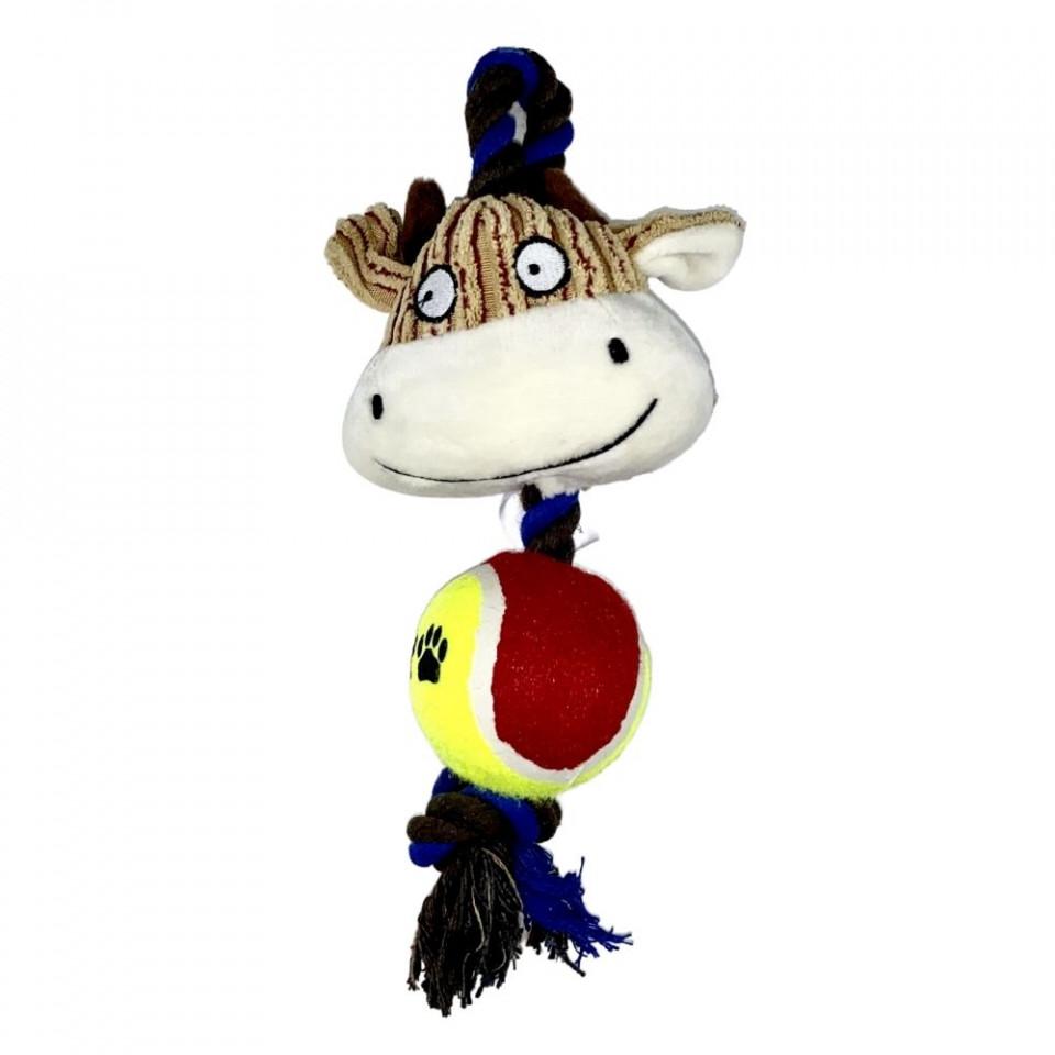 Jucarie pentru caini - Vaca cu minge, sfoara si sunet imagine