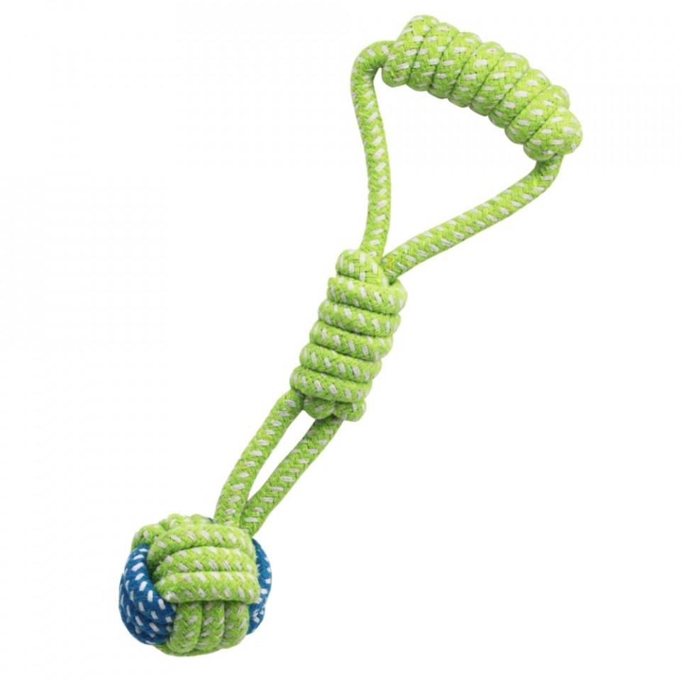 Jucarie antrenament pentru caini - Minge cu nod lung si maner verde imagine