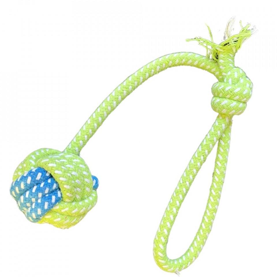 Jucarie antrenament pentru caini - Minge cu nod si maner verde imagine