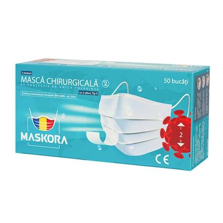 Masti chirurgicale Maskora, certificate uz medical II (cutie 50 buc) imagine