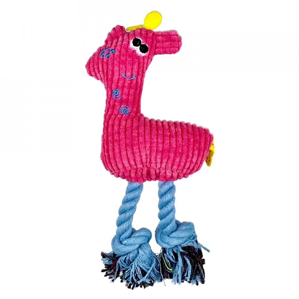 Jucarie pentru caini - Girafa roz cu sunet imagine