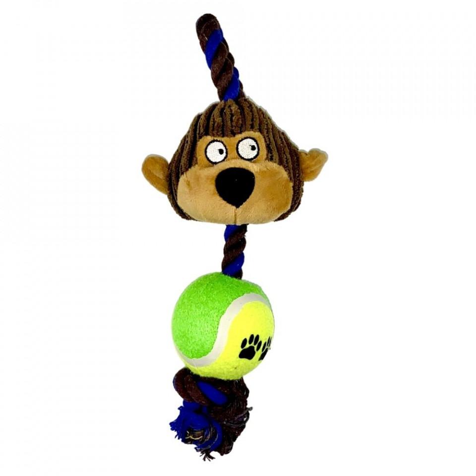 Jucarie pentru caini - Maimuta cu minge, sfoara si sunet imagine