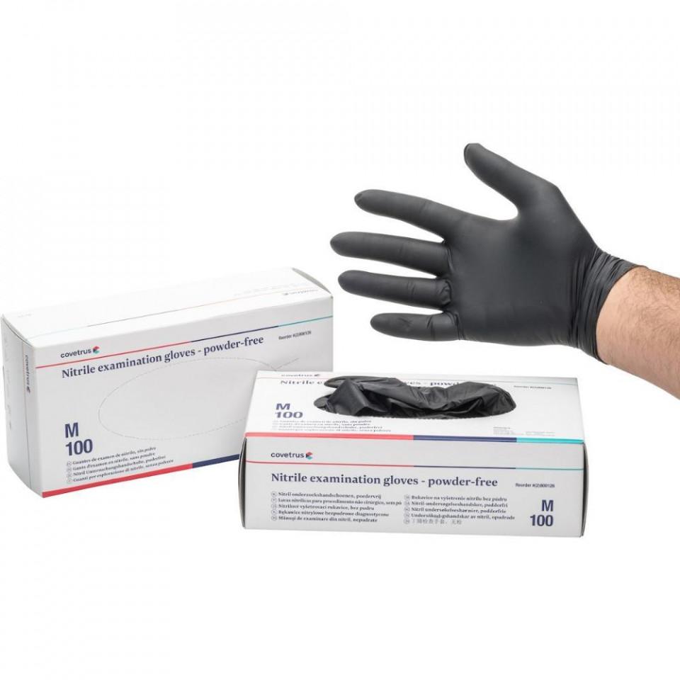 Manusi nitril negre nepudrate - cutie 100bucati imagine