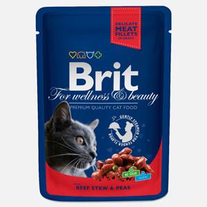 Brit Premium Cat plic cu carne de vita si mazare 100 gr
