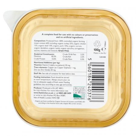 Hrana umeda Lily's Kitchen, certificata Organic, cu Curcan, 85g, pentru pisici