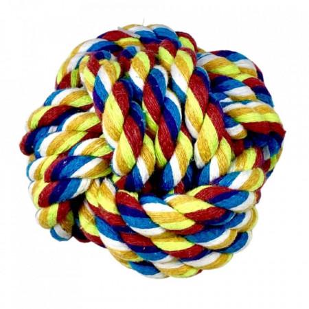 Jucarie pentru caini - Minge multicolora impletita 7.5cm