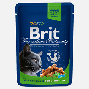 Brit Premium Sterilised Cat plic cu carne de pui 100 gr