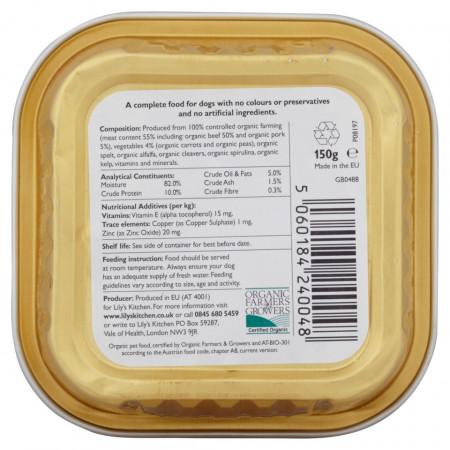 Hrana umeda Lily's Kitchen, certificata Organic, cu Vita, 150g, pentru caini