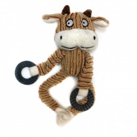 Jucarie pentru caini - Vaca bej cu inele si sunet