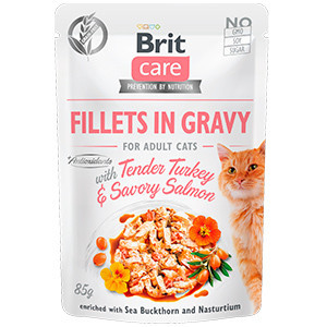 Brit Care Cat Fillets in Gravy With Tender Turkey and Savory Salmon 85 g