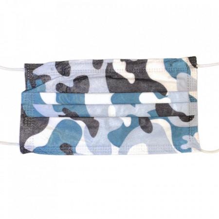 Masca color camuflaj navy, pentru adulti, 3 straturi, cutie 50buc