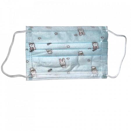 Masca igienica pentru copii, albastra, print iepuri