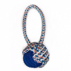 Jucarie pentru caini - Minge albastra din sfoara cu maner 21,5cm