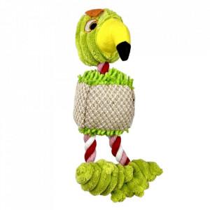 Jucarie pentru caini - Papagal verde cu sfori si sunet