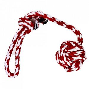 Jucarie pentru caini - Minge rosie impletita cu maner din sfoara 38cm