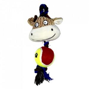 Jucarie pentru caini - Vaca cu minge, sfoara si sunet