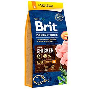 Brit Premium by Nature Adult M 15 plus 3 kg