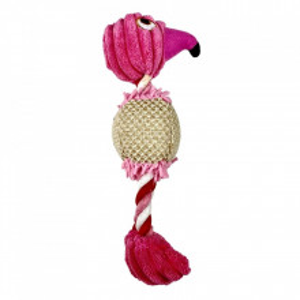 Jucarie pentru caini si pisici - Flamingo roz cu sfori si sunet