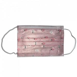 Masca igienica pentru copii, roz, print capsuni