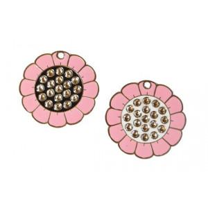 Medalion personalizat Floare Swarovski, gravare inclusa