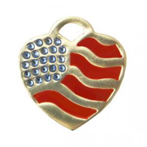 Medalion personalizat Inima SUA Swarovski, gravare inclusa