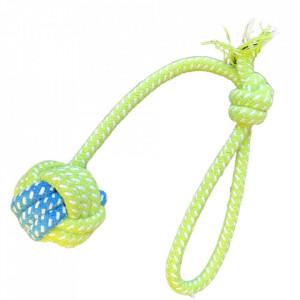 Jucarie antrenament pentru caini - Minge cu nod si maner verde