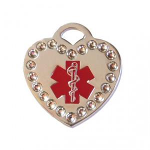 Medalion personalizat Inima Medical Swarovski, gravare inclusa