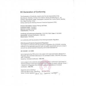 Masca FFP2 certificata CE, YinHong
