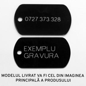 Medalion personalizat Banut Inima Print Swarovski, gravare inclusa