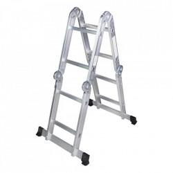 Scara multifunctionala din aluminiu 4 segmente x 2 trepte, 2.5m Bisonte