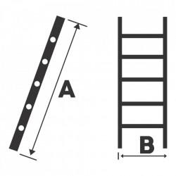 Scara simpla 9 trepte, 2.53 m aluminiu Bisonte