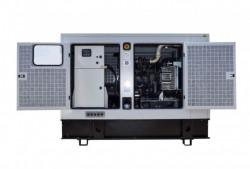 Generator de curent insonorizat stationar - industrial Genmac, Gama King, model G60IS, trifazic 400 V, putere 66 kVA, motor Fpt-Iveco 79 cp. diesel