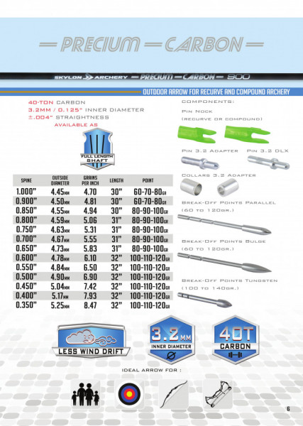 Shaft Carbon Skylon Precium Id3.2 - Set 12 bucati