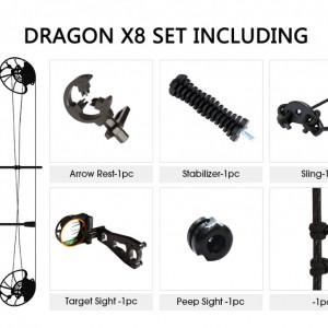 Pachet Arc Compound Sanlida Dragon X8 - Negru