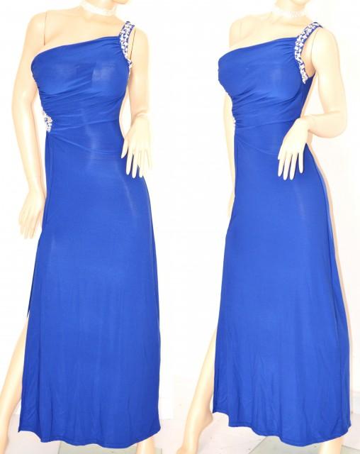 competitive price 666f3 62f9f ABITO LUNGO BLU vestito donna CRISTALLI sexy elegante da sera MONOSPALLA  cerimonia festa 60X