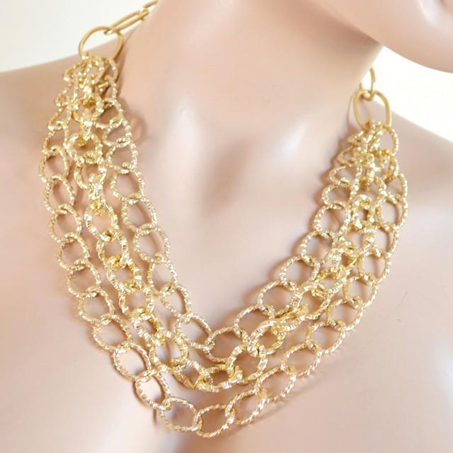 più recente ec9fc 10ce7 COLLANA donna catena oro dorata diamantata girocollo anelli multi-maglia A48