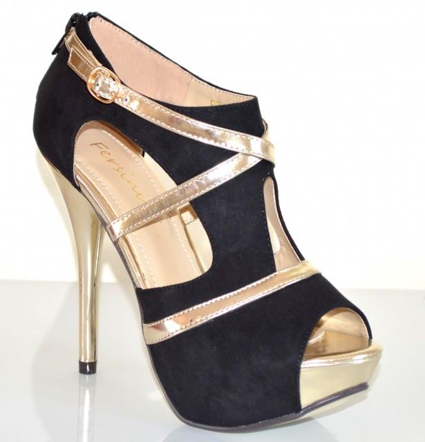 Decoltè donna sandali pelle neri oro scarpe spuntate tacco