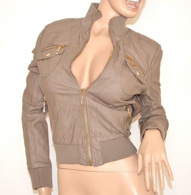 giacca in pelle tortora donna