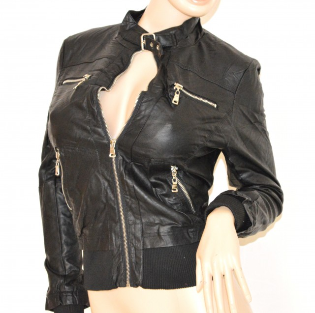 newest collection eb835 ae886 Giubbotto Pelle Nero Donna UD68 ~ Pineglen