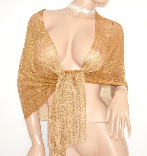 più recente 6cdda 1f647 MAXI STOLA donna ORO BRONZO elegante cerimonia frangia dorata FILO scialle  FOULARD coprispalle x abito da sera 1020