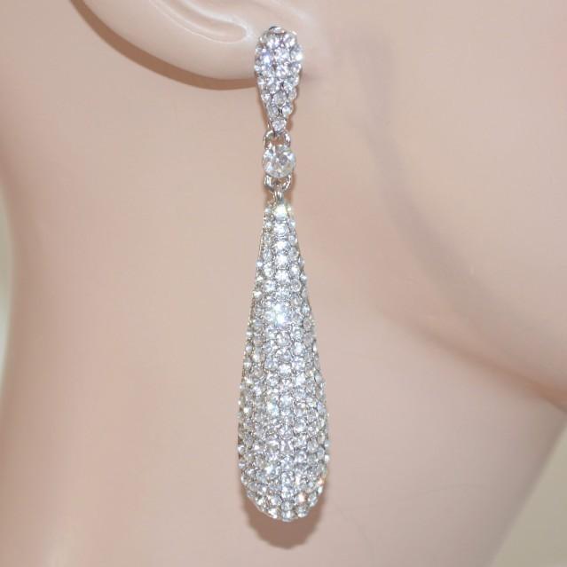 Ben noto ORECCHINI ARGENTO donna pendenti strass cristalli luccicanti  TB04