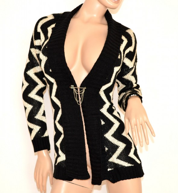 d19d8b8e9e0179 Cardigan donna maglione aperto fantasia NERO BIANCO maglioncino a maniche  lunghe lana 140